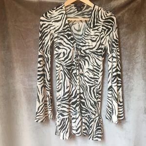 Arden B. Zebra Print Bell Sleeve Mini Dress